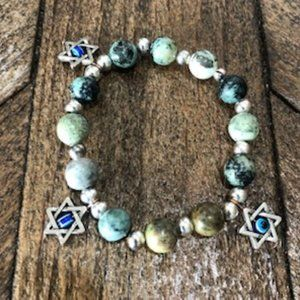 Jasper Bead Bracelet w/ Star Of David Charms